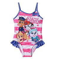 Toddler Girl Paw Patrol Chase, Marshall, Skye & Everest Striped One-Piece Swimsuit