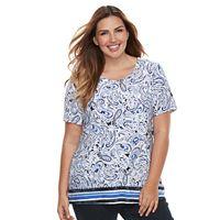 Plus Size Croft & Barrow® Scoopneck Jacquard Top