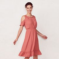 Women's LC Lauren Conrad Cold-Shoulder Ruffle Midi Dress