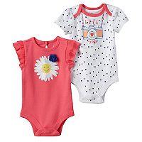Baby Girl Baby Starters 2-pk. Flower Graphic & Heart Print Bodysuits