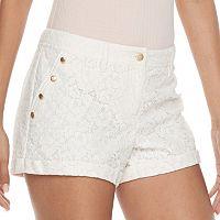Juniors' Candie's® Button Accent Lace Shortie Shorts