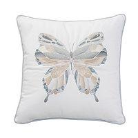 Shell Rummel Sea Glass Butterfly Mosaic Throw Pillow