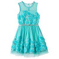 Girls 7-16 Knitworks Mint Floral Skater Dress
