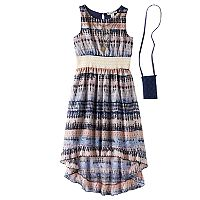 Girls 7-16 Knitworks Patterned High-Low Ruffle Hem Dress with Necklace & Crossbody Purse