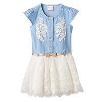 Girls 4-6x Nannette Chambray Top Tulle Skirt Dress