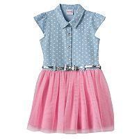 Girls 4-6x Nanette Heart Print Denim & Tulle Dress