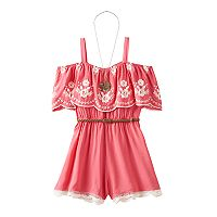 Girls 7-16 Knitworks Off Shoulder Ruffle Overlay Romper with Necklace