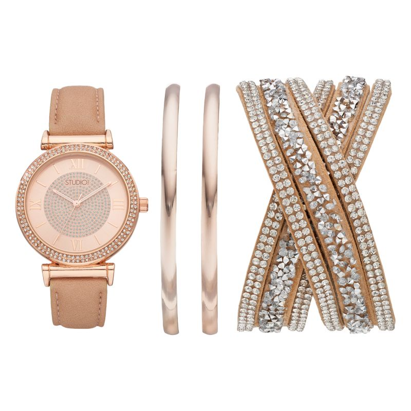 Studio Time Women's Crystal Watch & Bracelet Set, Size: Medium, Pink thumbnail