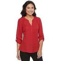 Juniors' Candie's® Roll-Tab Splitneck Top