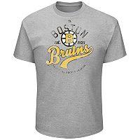 Big & Tall Majestic Boston Bruins Logo Heathered Tee