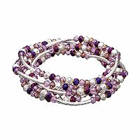 Napier Curved Bar Beaded Convertible Wrap Bracelet