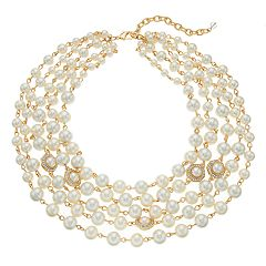 Napier Simulated Pearl Multi Strand Necklace