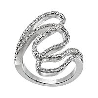 Simulated Crystal Pave Swirl Ring