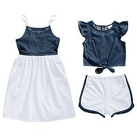 Toddler Girl Youngland Denim Sleeveless Dress, Popover Flutter Top & Shorts Set