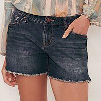 Women's LC Lauren Conrad Faded Fringe Jean Shorts
