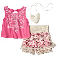Girls 4-6x Knitworks Embroidered Tank Top & Crochet Skort Set