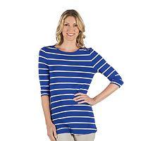 Women's Larry Levine Striped Embellished Boatneck Tee