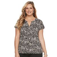 Plus Size Dana Buchman Printed Splitneck Top