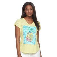 Women's Caribbean Joe Tropical V-Neck Tee