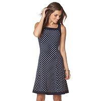 Petite Chaps A-Line Polka-Dot Dress