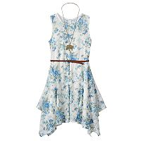 Girls 7-16 Knitworks Belted Handkerchief Hem Floral Lace Skater Dress with Necklace