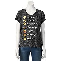Juniors' Emoji Days Of The Week Graphic Tee