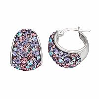 Confetti Purple Crystal Hoop Earrings