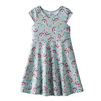 Girls 4-6x Emerald Sundae Unicorn Scuba Dress