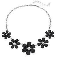 Black Flower Graduated Statement Necklace