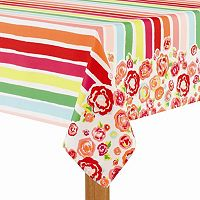 Celebrate Summer Together Striped Floral Tablecloth