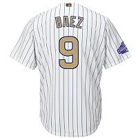 Men's Majestic Chicago Cubs Javier Baez 2016 World Series Champions Gold Program Cool Base Replica Jersey