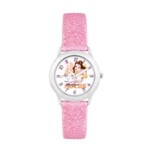 Disney's Beauty and the Beast Belle & Mrs. Potts Kids' Glittery Leather Watch