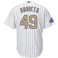 Men's Majestic Chicago Cubs Jake Arrieta 2016 World Series Champions Gold Program Cool Base Replica Jersey