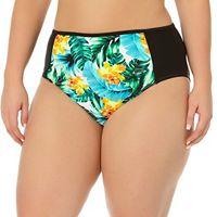 Juniors' Plus Size In Mocean Tropical Print High-Waisted Bikini Bottoms