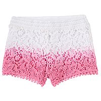 Girls 4-6x Design 365 Dip-Dyed Crocheted Shorts