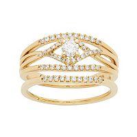 14k Gold 1/2 Carat T.W. IGL Certified Diamond Openwork Engagement Ring Set