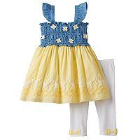 Toddler Girl Nannette Smocked Chambray Butterfly Tunic & Leggings Set