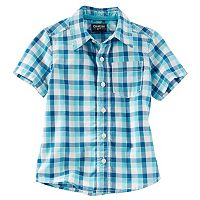 Boys 4-8 OshKosh B'gosh® Short Sleeve Button-Front Plaid Shirt