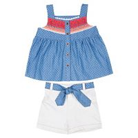 Baby Girl Little Lass Polka-Dot Tank Top & Cuffed Shorts Set
