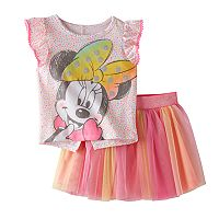 Disney's Minnie Mouse Toddler Girl Flutter Short Sleeve Confetti Graphic Tee & Sparkly Tulle Skort Set