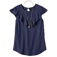 Girls 7-16 & Plus Size Self Esteem Crochet Lace Flounce Overlay Top with Necklace