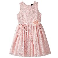 Girls 7-16 & Plus Size Lilt Flower Accent Lace Overlay Dress
