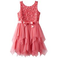Girls 7-16 Lilt Soutache Flower Bodice & Tiered Tulle Skirt Dress