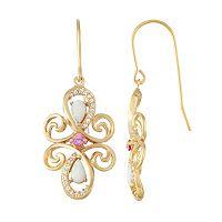 18k Gold Over Silver Gemstone Swirl Drop Earrings