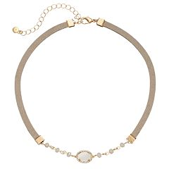 LC Lauren Conrad Mother-of-Pearl Oval Faux Suede Choker Necklace
