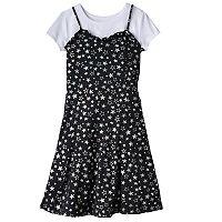 Girls 7-16 SO® Tee & Patterned Ruffle Dress Set