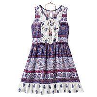 Girls 7-16 Knitworks Lace & Paisley Babydoll Dress