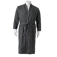 Big & Tall Residence Gingham-Striped Kimono Robe