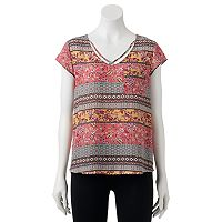 Juniors' Pink Republic Floral Strappy Tee