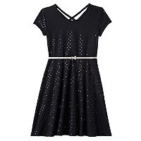 Girls 7-16 & Plus Size SO® Double Criss-Cross Back Belted Skater Dress